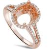 1/2ct Rose Gold Split Shank Halo Diamond Ring Setting For Oval 14K (G/H, SI2-I1)