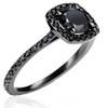 1 1/2ct Black Diamond Cushion Halo Ring 14K Black Gold