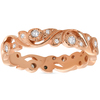 1/4ct Diamond Eternity Ring 14k Rose Gold Scroll Vintage Leaf ((G-H), SI(1)-SI(2))