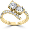 1 cttw Diamond 2 Stone Forever Us Engagement Anniversary Ring 14k Yellow Gold (I/J, I1-I2)