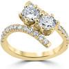 1 cttw Diamond 2 Stone Forever Us Engagement Anniversary Ring 14k Yellow Gold (I/J, I1-I2)