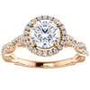 1 1/3ct Diamond Halo Interwoven Engagement Ring 14k Rose Gold ((G-H), SI(1)-SI(2))