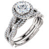 1 1/2ct Diamond Halo Vine Engagement Wedding Ring Set 14k White Gold ((G-H), SI(1)-SI(2))