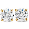 1 1/2 ct Round Round Diamond Studs with Screw Backs 14k Yellow Gold Enhanced ((F), SI(1)-SI(2))
