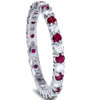 1 1/2ct Garnet Diamond Eternity Ring 14k White Gold