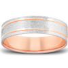 14k Rose & White Gold 6MM Flat Comfort Fit Mens Brushed Two Line Wedding Band