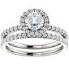 1 1/10ct Diamond Halo Engagement Wedding Ring Set 14k White Gold (GH, I1)