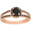1CT Black Diamond Halo Split Shank 14k Rose Gold Engagement Ring (Black, )