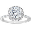 1 3/8ct Diamond Cushion Halo Engagement Ring 14k White Gold ((G-H), SI(1)-SI(2))