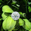 1 3/4ct Halo Plain Shank Diamond Engagement Ring 14k White Gold ((G-H), SI(1)-SI(2))