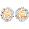 3/8CT Halo Diamond Earring Jackets 14K Yellow Gold Fits .25CT Stones (4MM) (H-I, I3)