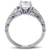1ct Diamond Engagement Ring Vintage Petal Vine Leaf Band 14k White Gold ((G-H), SI(1)-SI(2))