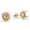 1/2ct Diamond Halo Studs Mounts 14k Yellow Gold Fits 6MM Round Stones Mounting ((G-H), SI)