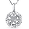 1/3ct Diamond Halo Pendant Mounting Fits 5.5-6.5mm Round Stone 14k White Gold (G-H, I1)