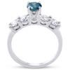 1 1/2ct Blue & White Diamond Engagement Ring 14k White Gold (G/H, I1-I2)