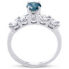 1 1/2ct Blue & White Diamond Engagement Ring 14k White Gold (G/H, I1-I2)