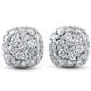 1/2ct Pave Diamond Cushion Studs 14k White Gold (H-I, I1-I2)