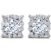1 3/8ct Cushion Halo Diamond Studs 14K White Gold (J-K, I2-I3)