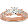 2ct Three Stone Vintage Diamond Engagement Ring 14k Rose Gold Enhanced (G/H, SI2-I1)