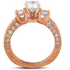 2ct Three Stone Vintage Diamond Engagement Ring 14k Rose Gold Enhanced (G/H, SI2-I1)