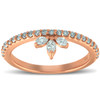 3/8ct 14k Rose Gold Womens Marquise Diamond Wedding Ring Stackable Band (H/I, I1-I2)