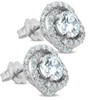 1 3/4 Ct Halo Diamond Studs Sprial 10.9mm Womens Earrings 14k White Gold (G-H, SI)