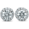 2 1/5 Ct Halo Diamond Studs 14k White Gold 10mm (G-H, SI)