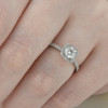 Platinum 1 ct Diamond Engagement Ring Cushion Halo Ring (G-H, SI1-SI2)