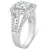 1 3/8ct Square Framed Diamond Halo Engagement Ring 10k White Gold (G/H, I1-I2)
