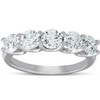 1 1/2 Ct EX3 Lab Grown Diamond Five Stone Wedding Ring 14k White Gold EX3 Lab Grown (((G-H)), SI(1)-SI(2))
