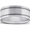 Brushed Double Inlay Wedding Band 10K Black & White Gold