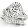 1 5/8 Ct Oval Diamond Engagement Halo Ring & Matching Band 14k White Gold ((G-H), SI(1)-SI(2))