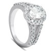 1 1/2 Ct Oval Cut Diamond Halo Split Shank Engagement Ring 14k White Gold ((G-H), SI(1)-SI(2))