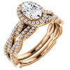 1 1/2 Ct Oval Halo Diamond Infinity Engagement Wedding Ring 14k Rose Gold (G/H, SI(1)-SI(2))