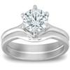 1 Ct Round Diamond Engagement Ring Wedding Plain Band Set 14k White Gold (G/H, SI(1)-SI(2))
