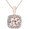 1 1/10ct Morganite Cushion Halo Diamond Pendant 14K Rose Gold (G, I2)