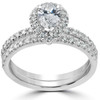 1 5/8 Ct Pear Shape Halo Diamond Engagement Wedding Ring Set 14k White Gold (G, SI2-I1)