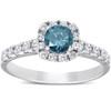 1 Ct Blue Diamond Cushion Halo Engagement Ring 14k White Gold (H/I, I1-I2)