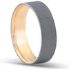 14k Yellow & Black Gold Mens Satin Finish Flat Comfort Fit Wedding Band