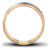 14k White & Yellw Gold Two Tone 7.5mm Matte Finish Mens Wedding Band