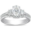 1 1/2 Ct Oval Shape Diamond Engagement Ring Wedding Set 14k White Gold (G, SI2-I1)