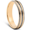 10k Yellow & Black Gold Mens Brushed Diamond Cut Finish Mens Wedding Band