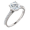 2 Ct Diamond Engagement Ring 14k White Gold Single Row Vintage Accents (H, I1-I2)
