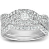 1 1/4 Ct Cushion Halo Diamond Engagement Wedding Ring 3-Piece Set White Gold (H, I1-I2)