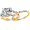 1 1/10 Ct Diamond Cushion Halo Engagement Ring Wedding Set 10k Yellow Gold (H, I1-I2)