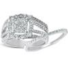 1 5/8 Ct Diamond Cushion Halo Engagement Ring Wedding Band Set 10k White Gold (H, I1-I2)