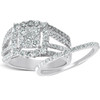 1 5/8 Ct Diamond Cushion Halo Engagement Ring Wedding Band Set 10k White Gold (H, I1-I2)