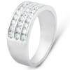 1 Ct TDW Three Row Channel Set Diamond Wedding Ring 10k White Gold Band (H, I1-I2)