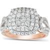 1 1/5 Ct TDW Double Cushion Halo Diamond Engagement Ring 10k Rose Gold (H, I1-I2)