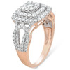 1 1/5 Ct TDW Double Cushion Halo Diamond Engagement Ring 10k Rose Gold (H, I1-I2)
